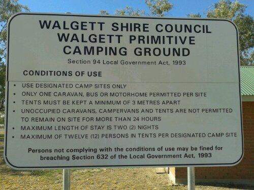 Walgett camping ground conditions of use
