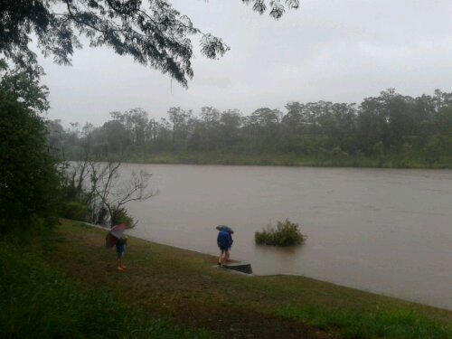 Brisbane River at Yeronga at 5:56pm on 27 January 2012