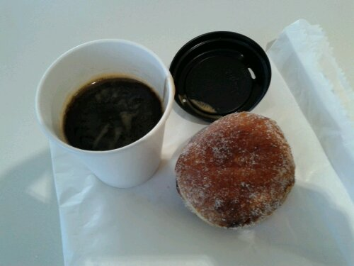 My long black coffee was somewhat bitter. On the other hand, the caramel custard centred donut was fantastic!