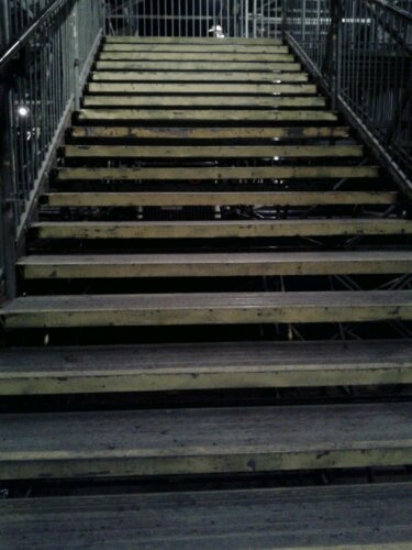 The stairs under the grandstand -- be careful if you are wearing stilettos or are elderly