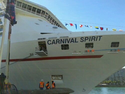 Carnival Spirit cruise liner docked at Circular Quay