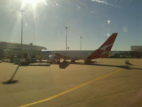 Taxiing into Brisbane airport terminal