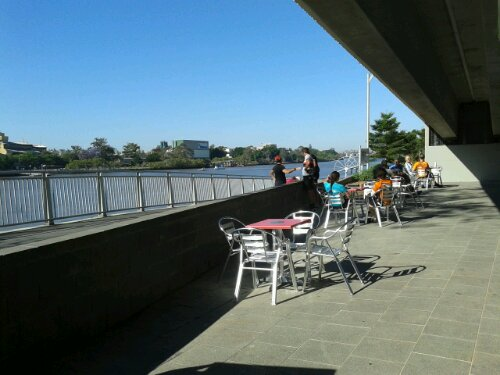 Bikeway Coffee Juice Bar has great views of the Brisbane River