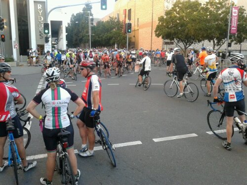 Waiting for the start of the Brisbane to the Gold Coast Cycle Challenge