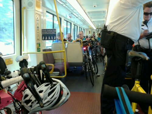 Train was jam packed with bicycles, so there was no hope of the inspectors moving through the train to check tickets