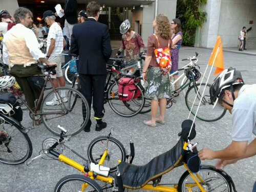 All kinds of bikes participated -- look closely at the bikes in the background, they are some classics!