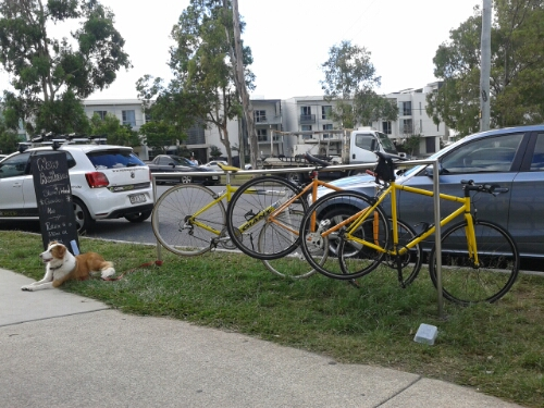 Two singlespeeds at the Hyde Out restaurant in Yeronga