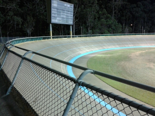 Chandler Velodrome banking is apparently 31 degrees -- it doesn't look steep ... until you are riding around the top!