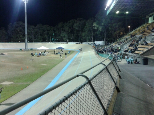The start/finish straight towards the end of the night with few people left in the stands